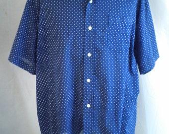1970's Vintage Man's Shirt Polka Dot Short Sleeve XL Summer Sport Shirt