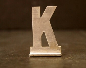 "Vintage Metal Sign Letter ""K"" with Base, 1-13/16 inches tall (c.1950s) - Industrial Decor, Art Supply, Typography"