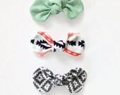 Knot Bow, Twist Knot Bow, Set of Bows, Nylon Headband, Boho Bows, Aztec Bows
