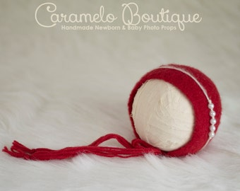 RTS Red Felted Newborn Bonnet Photo Prop Boy & Girl with Detachable Headband-Valentine's Baby Felted Bonnet-Newborn Photo Prop-Red Bonnet