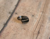 Black and Gold Ring Glass Button - made with a black glass button