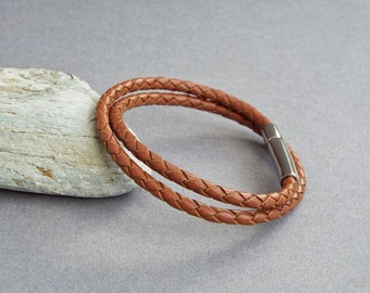 Mens Leather Bracelet, Braided Leather Bangle, Men's Jewelry, Boyfriend Gift, Gift for Him