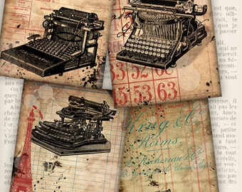 Grunge Typewriter Cards 3.5 x 5 inch printable paper crafting journal instant download digital download digital collage sheet - VDCAGR1227