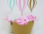 Hot Air Balloon Cupcake Toppers In Your Choice of Color Qty 12