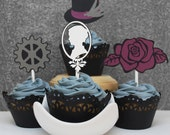 Gothic Steampunk Cupcake Toppers In Your Choice of Color Qty 12