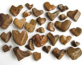 30 Heart Shaped Rocks - Natural River Beach Stones - Valentines Day Decor