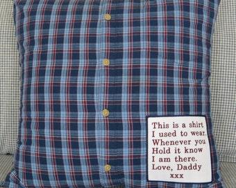 Memory Pillow, Shirt Memory Pillow, Keepsake Pillow, Button-Up, Polo,T-Shirt COVER ONLY