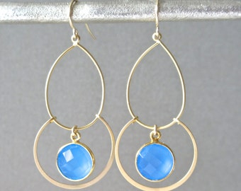 Double Hoop Earrings with Chalcedony Accents