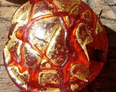 Red and gold  glass Murano Venetian rounded bead