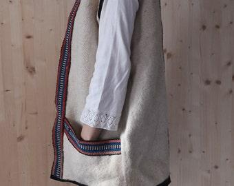 Vintage  Wool Gilet southwestern vest oversized vest Boho 70s hippie vest