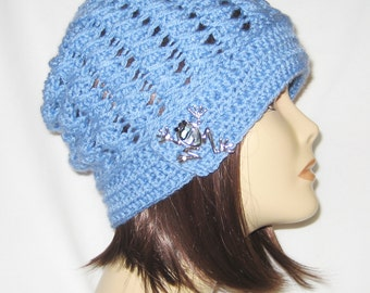 """Slouch decorated with brooch,beanie,hat,cap,lite blue,made to fit most teens & adults 21-23"""""""