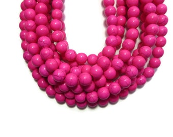 Hot Pink Howlite - 10mm Round Bead - Full Strand - 43 beads - Fuchsia - Bright Pink - Synthetic Turquoise - Neon