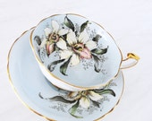 Paragon Teacup and Saucer / Blue with Orchid / Vintage Tea Cup and Saucer