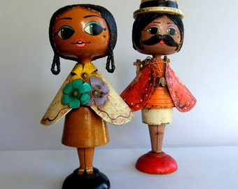 2 Vintage Papier Paper Mache Dolls or Figurines by Gustavo, Tlaquepaque Mexico - Gemma Taccogna Inspired, Mid Century Big Eye Collectible