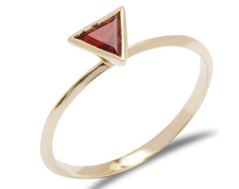 Non Diamond Engagement Ring Gold Triangle Ring Red Garnet Ring 10 Year Anniversary Ring Contemporary Engagement Ring Contemporary Ring