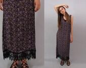 On Sale - Vintage 90s Floral Dress, Floral Maxi Dress, Boho Dress, Sheer Dress, Sun Dress Δ size: sm / md