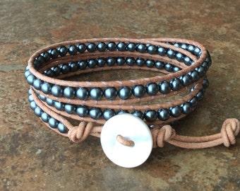 Pearl Leather Wrap Bracelet, Natural Leather, Tahitian Blue, Triple Wrap, Bohemian Jewelry, Dark Blue, Free Shipping
