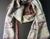 SCARF / SHAWL: Soft 100% silk, two sided  woman's  x-long  scarf / shawl. Made in Japan. Brown, sky blue , zibra print