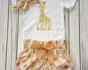 Girls 1st Birthday Onesie Outfit, Bloomers, Knot Bow Headband, Cute Giraffe, Gold Giraffe Onesie, Carters Onesie, Pink and Gold Dots Onesie