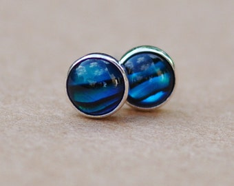Paua shell earrings handmade with sterling silver stud earrings. Blue 5mm cabochon and silver jewellery. Perfect for gifts, birthdays
