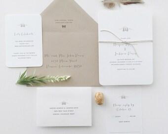 PAPER SAMPLES Harper Simple Wedding Invitation / Rustic Wedding Invitations / Letterpress Wedding Invitation / Mountain Wedding Invitation