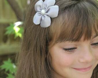 Silver Flower Hair Clip - Gray 5 Petal Flower Hair Bow - Silver Grey Toddler Girl Adult Hair Accessory