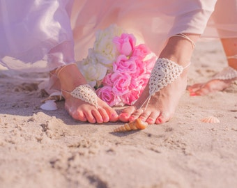 Baby Barefoot Sandals- Beach Wedding Sandals- Mommy and Me Outfits- Baby Foot Jewelry- Footless Sandals- Barefoot Wedding Sandals- Sandles
