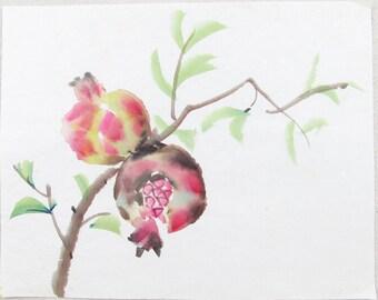 vintage watercolor painting, POMEGRANATE, minimalist art, mid century modern, original art, brush painting, Japanese art, ink painting