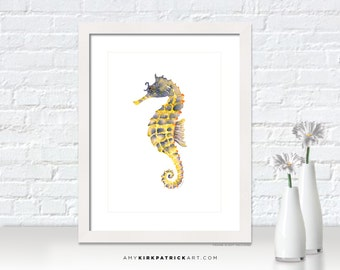 Yellow SEAHORSE Painting, Seahorse Print, Seahorse Greeting Cards, Seahorse Wall Decor, Seahorse Wall Art, Blue Yellow Seahorse