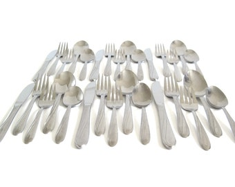 Midcentury Flatware Set Capri Stainless USA Service for 6 or 7 Complete Silverware Set