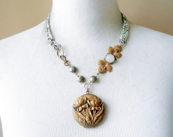 Victorian Iris Locket Necklace, Assemblage Jewelry, Eclectic, Rhinestone, Pyrite, Repousse, Antique Brass, Vintage Repurposed, Upcycled