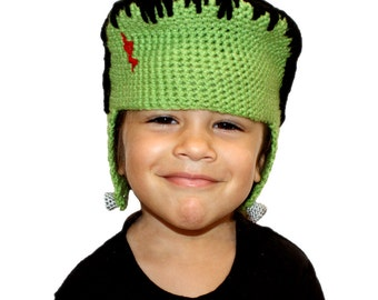Crochet Pattern-- All Ages Franken Beanie --Crochet Pattern