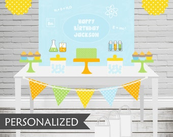 Printable Science Party Backdrop - 3x4 ft. Personalized Printable Party Poster for Mad Scientist Themed Parties .. ms01