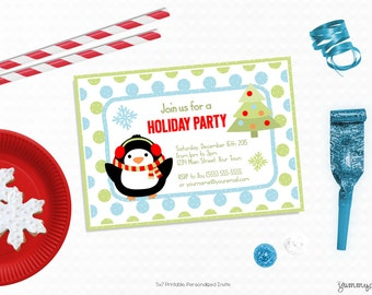 Personalized Printable Penguin Party Invitation - Personalized Printable Invite for Birthdays or Holiday Themed Parties