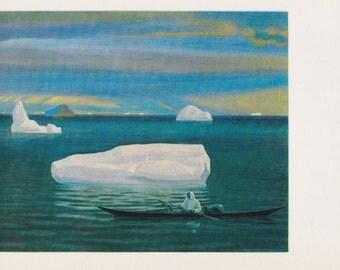 "Rockwell Kent ""Eskimo in a Kayak"" Print, Postcard -- 1980, 1981"