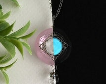 Blush - Glow in the Dark Pink Glass Circular Necklace - Silver - Heady Glass