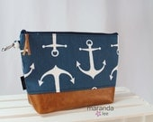 AVA Clutch -Large - Anchors Navy with PU Leather Cosmetic  READy to SHIp Nautical Beach