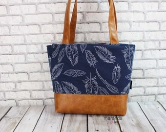 Lulu Medium Tote  Bag Navy Feathers and PU Leather LIMITED EDITION - Purse Shoulder Straps 3 pockets Handbag Washable