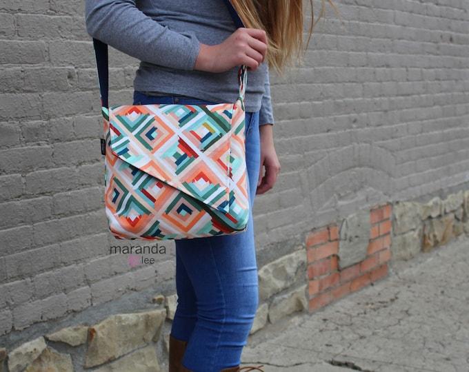 Nori Flap Messenger Slouch Bag with Adjustable Cross Body Bag -Roadway - iPad Bag
