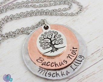 Personalized Jewelry - Hand Stamped Necklace - Family Tree Necklace
