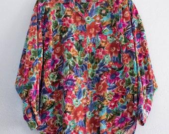 baggy floral blouse - L