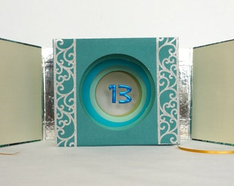 Happy 13th Birthday TUNNEL BOOK CARD Gift ORIGiNAL DESiGN CUSToM ORDeR Handmade in Green Blue Shades & Silver w/Hard Cover Binding  OOaK