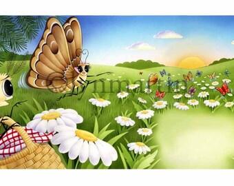 Moths Have a Picnic ORIGINAL ART watercolor
