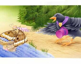 ORIGINAL WATERCOLOR PAINTING  Raven Speaks