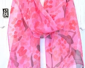 Silk Scarf Handpainted, gift for her, Gift for Women Scarf, Pink Silk Scarf, Silk Scarves Takuyo, Pink Plum Blossoms Scarf, 11x60 inches.