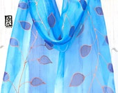 Small Silk Scarf hand painted, Silk Scarf Blue, Chiffon Scarf, ETSY ASAP, Gift for her, Rose Gold and Blue Vine Leaves Scarf, 8x54 inches.