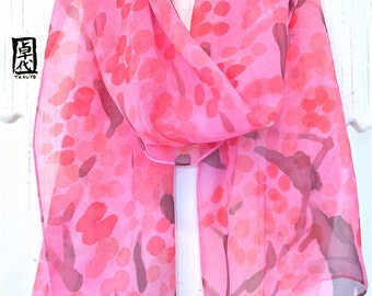 Silk Scarf Handpainted, gift for her, Gift for Women Scarf, Pink Silk Scarf, Silk Scarves Takuyo, Pink Plum Blossoms Scarf, 8x54 inches.