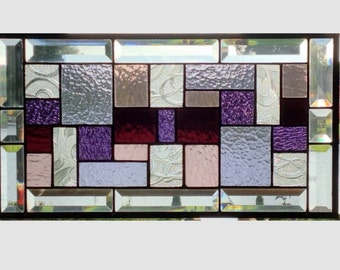 Beveled Stained glass panel window geometric purple stained glass window panel window hanging abstract suncatcher 19 1/2 x 10 1/2 0169