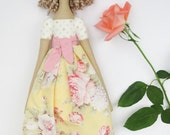 Tilda doll soft fabric doll pink pastel rose blonde stuffed doll, cloth doll handmade rag doll - baby shower gift for girls