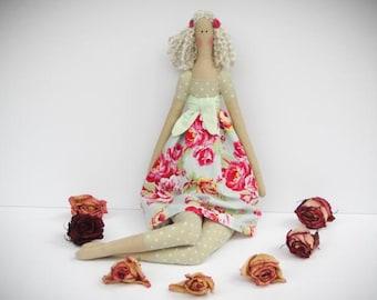Tilda doll cute fabric doll stuffed doll pink roses polka dot blonde cloth doll handmade rag doll - baby shower gift for girls